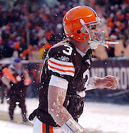 Quarterback Derek Anderson is covered in snow after diving on the ground after a win..The Cleveland Browns continued their playoff hunt with an 8-0 win over visiting Buffalo.  .Photo by David  Richard