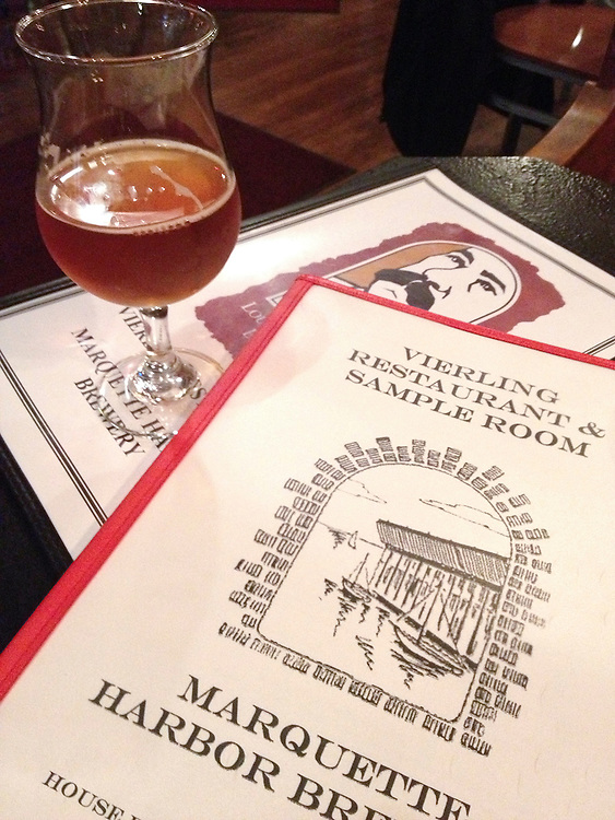 Beer and menus at The Vierling Restaurant and Marquette Harbor Brewery in downtown Marquette, Michigan.