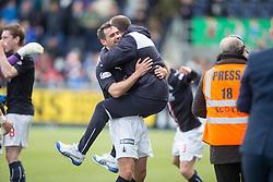 Falkirk players cele after the Hibs score. <br /> Falkirk 1 v 0 Morton, Scottish Championship game  played 1/5/2016 at The Falkirk Stadium.