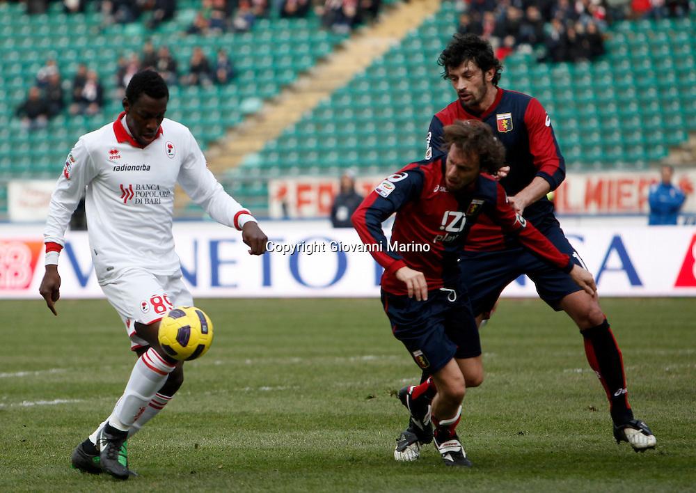 Bari (BA), 13-02-2011 ITALY - Italian Soccer Championship Day 25 - Bari VS Genoa..Pictured: Okaka (BA) Kaladze (GE) Milanetto (GE).Photo by Giovanni Marino/OTNPhotos . Obligatory Credit