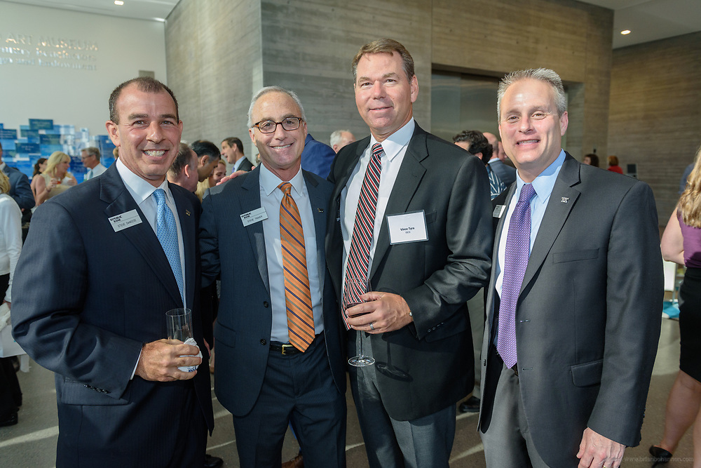 Republic Bank Vice-President Steve Deweese and Chairman and CEO Steve Trager with Vince Tyra and Greg Bromley at the 10-year anniversary celebration of Republic Bank's Private Banking and Business Banking divisions Wednesday, May 17, 2017, at the Speed Art Museum in Louisville, Ky. (Photo by Brian Bohannon)