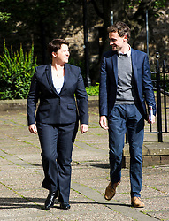 Pictured: Ruth Davidson and her chief of staff Dan Guild head to vote<br /> <br /> Scottish conservative leader Ruth Davidson cast her vote  in the EU Referendum early today which will decide whether Britain should leave or reman in the EU.<br /> <br /> <br /> <br /> Ger Harley | EEm 23 June 2016
