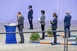 Jury Dressuurhengsten, Rutten Bert, Dorresteijn Marian, Hammingha Johan, Dröge Floor<br /> KWPN Hengstenkeuring 2021<br /> © Hippo Foto - Dirk Caremans<br />  05/02/2021