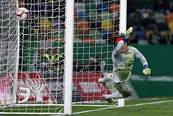 February 3, 2019 - Lisbon, Portugal - Sporting's forward Bas Dost from Holland (unseen) shoots to score a penalty and beats Benfica's Belgian goalkeeper Mile Svilar during the Portuguese League football match Sporting CP vs SL Benfica at Alvalade stadium in Lisbon, Portugal on February 3, 2019. (Credit Image: © Pedro Fiuza/NurPhoto via ZUMA Press)