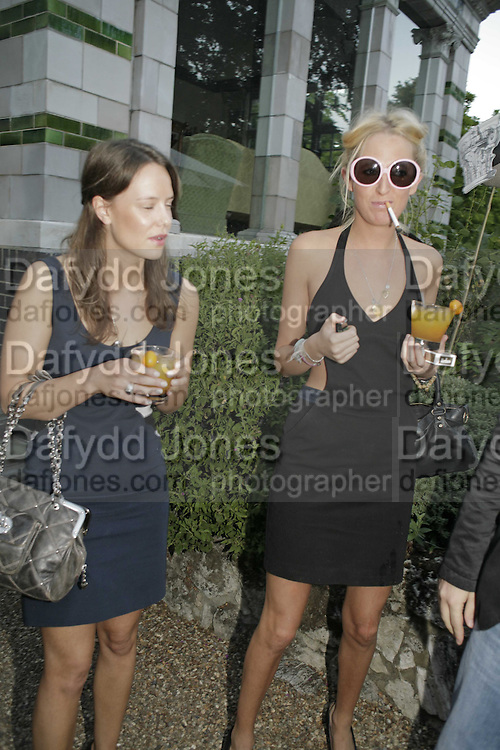 Sophia Hesketh and Arabella Musgrave, Stephen Jones Summer Hat party to celebrate 25 years of Milllinery. Debenham House, 8 Addison Rd. Holland Park, London. 13 July 2006.  ONE TIME USE ONLY - DO NOT ARCHIVE  © Copyright Photograph by Dafydd Jones 66 Stockwell Park Rd. London SW9 0DA Tel 020 7733 0108 www.dafjones.com