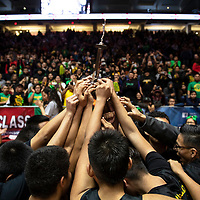 The Newcomb Skyhawks hold up their New Mexico Class 2A runner-up trophy after their defeat to Pecos in the Championship game Saturday morning at the Dreamstyle Arena in Albuquerque.