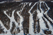 Aerial view of Devil's Head Ski Area, rural Sauk County, Wisconsin in the winter on an overcast day.