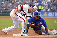 CHICAGO - JULY 26:  Todd Frazier #21 of the Chicago White Sox applies a late tag on Addison Russel #27 of the Chicago Cubs on July 26, 2016 at U.S. Cellular Field in Chicago, Illinois.  The White Sox defeated the Cubs 3-0.  (Photo by Ron Vesely) Subject:    Todd Frazier; Addison Russell