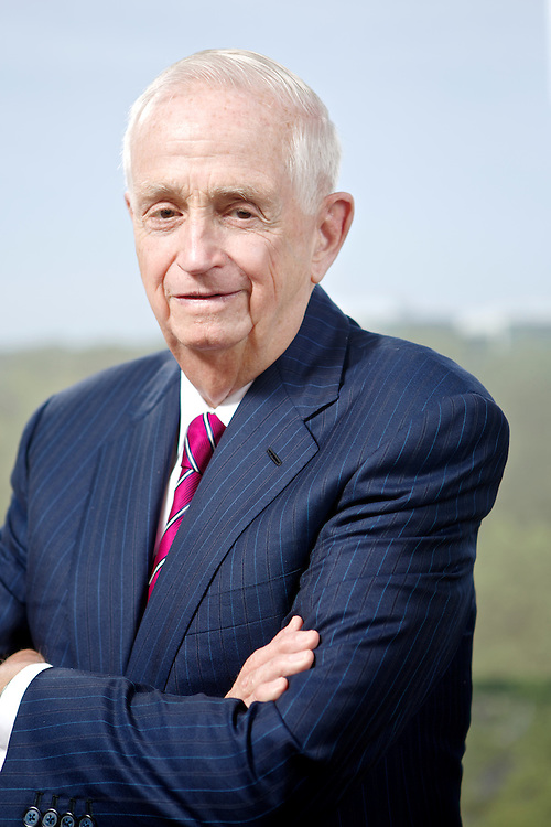 """John Willard """"Bill"""" Marriott, Jr., the Executive Chairman and Chairman of the Board of Marriott International, poses for a portrait at the Marriott Corporate Headquarters in Bethesda, Maryland."""