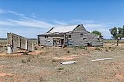 Dilapidated and rundown old outback shearing wool shed near Narrandera, New South Wales, Australia <br /> <br /> Editions:- Open Edition Print / Stock Image