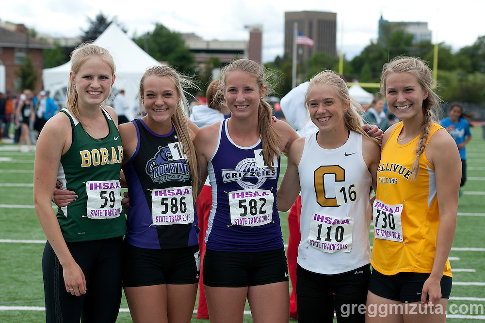 5A 800 meter comptitors (L to R: Sara Christianson, Faith Dilmore, Megan Boals, Kari Taylor, Danielle VanLith). Idaho High School Track & Field State Championships at Dona Larson Park, Boise, Idaho. May 21, 2016.