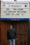 Supporters (Tottenham Fan ) outside Marine's Ground during the The FA Cup match between Marine and Tottenham Hotspur at Marine Travel Arena, Great Crosby, United Kingdom on 10 January 2021.