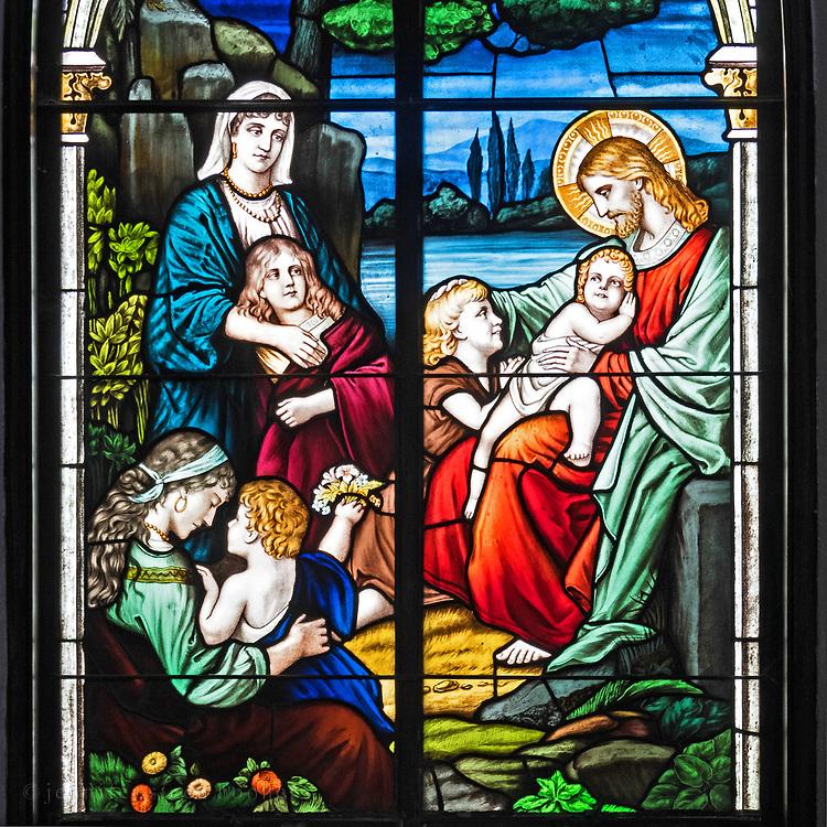 Window 7 on plan. <br /> Based on a painting by Bernhard Plockhorst (1825-1907). <br /> <br /> Holy Redeemer Catholic Church, Bar Harbor, Maine.