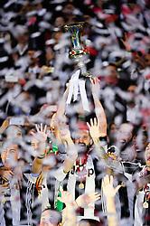 May 17, 2017 - Rome, Italy - GIORGIO CHIELLINI lifts the cup as Juventus celebrates winning the Coppa Italia final against Lazio. (Credit Image: © Italy Photo Press via ZUMA Press)