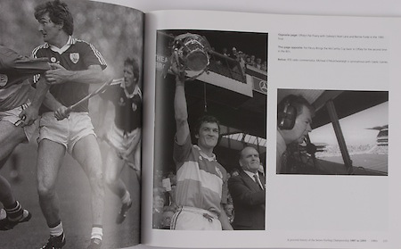 left: Offaly's Pat Fluery with Galway's Noel Lane and Bernie Forde in the 1985 final. .middle: Pat Fleury brings the McCarthy Cup back to Offaly for the second time in the 80's. .right: RTE radio commentator, Micheal O'Muircheartaigh is synonumous with Gaelic Games.
