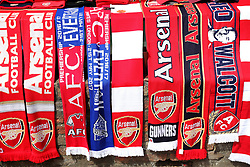 Arsenal scarves on sale before the Premier League match at the Emirates Stadium, London.