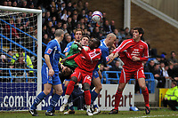 Photo: Tony Oudot/Richard Lane Photography. <br /> Gillingham Town v Carlisle United. Coca-Cola League One. 21/03/2008. <br /> Cleveland Taylor of Carlisle comes close with a header