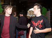 Ashley Bird Editor of Kerrang and Rob Caggiano of Anthrax. The Kerrang Awards 2004. the Brewery, Chiswell st. London. 26 August 2004. SUPPLIED FOR ONE-TIME USE ONLY-DO NOT ARCHIVE. © Copyright Photograph by Dafydd Jones 66 Stockwell Park Rd. London SW9 0DA Tel 020 7733 0108 www.dafjones.com