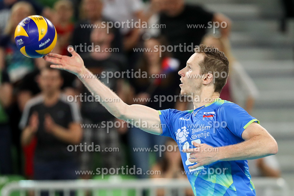 Tine Urnaut of Slovenia during volleyball match between National teams of Slovenia and Belgium in 2nd Round of 2018 FIVB Volleyball Men's World Championship qualification, on May 28, 2017 in Arena Stozice, Ljubljana, Slovenia. Photo by Morgan Kristan / Sportida