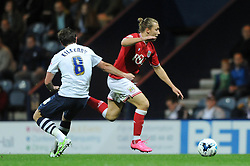 Luke Freeman of Bristol City breaks away from Neil Kilkenny of Preston North End - Mandatory byline: Dougie Allward/JMP - 07966386802 - 15/09/2015 - FOOTBALL - Deepdale Stadium -Preston,England - Bristol City v Preston North End - Sky Bet Championship
