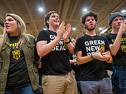 """09 NOVEMBER 2019 - DES MOINES, IOWA: People cheer for US Senator Bernie Sanders at a climate change town hall. Sanders and Rep. Congresswoman Alexandria Ocasio-Cortez (D-NY), hosted the """"Climate Crisis Summit"""" at Drake University in Des Moines. More than 2,000 people attended the event. Sanders, an independent, is running to be the Democratic nominee for the 2020 US Presidential election. Iowa holds the first in the country selection contest with state caucuses on Feb. 3, 2020.               PHOTO BY JACK KURTZ"""