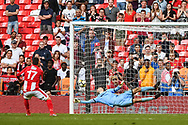 Steve Diggin of Brackley Town (17) scores during the penalty shoot out of the FA Trophy match between Brackley Town and Bromley at Wembley Stadium, London, England on 20 May 2018. Picture by Stephen Wright.