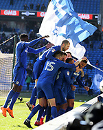 Kenneth Zohore of Cardiff city ® celebrates with his teammates after he scores his teams 1st goal. . EFL Skybet championship match, Cardiff city v Bristol city at the Cardiff city stadium in Cardiff, South Wales on Sunday 25th February 2018.<br /> pic by Andrew Orchard, Andrew Orchard sports photography.