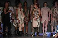 Designers Adi Gill, Gabriel Asfour and Angelina Donhauser walk the runway during threeASFOUR Runway Show hosted by Klarna STYLE360 NYFW on September 11, 2019 in New York City.