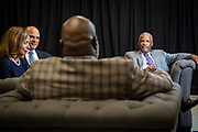 Chancellor Harold L. Martin Sr. and his wife Davida Wagner Martin, Timothy King, BOT Chairman chat with T.D. Jakes before the North Carolina Agricultural and Technical State University's spring Chancellor's Speaker Series on Thursday, April 11, 2019.<br /> <br /> (Chris English/Tigermoth Creative)