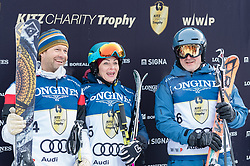 20.01.2018, Hahnenkamm, Kitzbühel, AUT, FIS Weltcup Ski Alpin, Kitzbuehel, Kitz Charity Trophy, im Bild v.l.: Stefano Domenicali, Daniela Hartinger, Fritz Hartinger // f.l.: Stefano Domenicali Daniela Hartinger Fritz Hartinger during the Kitz Charity Trophy of the FIS Ski Alpine World Cup at the Hahnenkamm in Kitzbühel, Austria on 2018/01/20. EXPA Pictures © 2018, PhotoCredit: EXPA/ Stefan Adelsberger