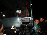 Fotball<br /> Tyrkia<br /> Foto: imago/Digitalsport<br /> NORWAY ONLY<br /> <br /> Fenerbahce football team s bus was shooted on the way to Trabzon Airport after Caykur Rizespor game. According to the news received from the Police Department the bus was shooted by a pump riffle and the bus windows were broken. The bus driver got injured and about the loose the control of the bus, the security of the team stopped the bus and took control. 04.04.2015.