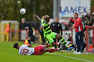 Stevenage Defender, Terence Vancooten (20) tackles Forest Green Rovers Drissa Traore(4) during the EFL Sky Bet League 2 match between Stevenage and Forest Green Rovers at the Lamex Stadium, Stevenage, England on 21 October 2017. Photo by Adam Rivers.