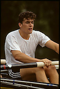 Molesey, Great Britain. GBR M2+.  Greg SEARLE, 1992 British International Rowinig Training on the Molesey Reach, Surrey.  Went on to be Gold Medalist at the Barcelona Olympic Regatta later in the year.  [Mandatory Credit. Peter Spurrier/Intersport Images] +1992 +Molesey +Henley 1992 GBRowing Training, Molesey/Henley, United Kingdom