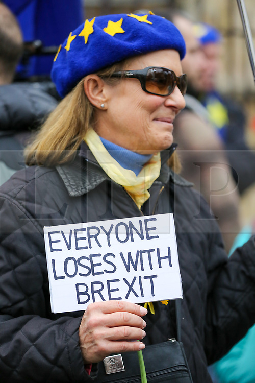 "© Licensed to London News Pictures. 30/01/2020. London, UK. A Pro-European supporter hold a ""EVERYONE LOSES WITH BREXIT"" sign outside Houses of Parliament on the day before Brexit Day.  The UK will leave the European Union at 11pm on the 31 January 2020. Thereafter will be a transition period until the end of 2020, while the UK and EU negotiate additional arrangements. Photo credit: Dinendra Haria/LNP"