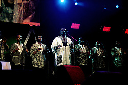 South African vocal group Ladysmith Black Mambazo performing on stage during the South Africa Freedom Day Concert in London's Trafalgar Square.