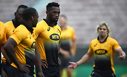 Cape Town-180622 Springbok players Chilliboy Ralepele,Siya Kolisi and Faf de Klerk having a practice during the captain's run at Newlands.The team will be facing England in their last test game at Newlines stadium.Photographer:Phando Jikelo/African News Agency/ANA