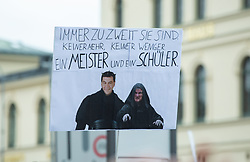 October 3, 2018 - Munich, Bavaria, Germany - A sign with Soeder and Seehofer. Up to 40.000 people protested in Munich, Germany, on 3 October 2018  with the Motto Jetzt Gilt's. They protested against the right shift, the CSU, the AfD, the Polizeiaufgabengesetz (PAG) and many other things. Churches, Political Parties, organisations, football fans and others mobilised for the demonstration. (Credit Image: © Alexander Pohl/NurPhoto/ZUMA Press)