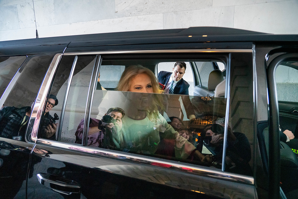 Kellyanne Conway, senior advisor to U.S. President Donald Trump departs Capital Hill after attending the Republican luncheon Dec. 18, 2019, Washington DC. President Trump will be the fourth American President facing impeachment. The president is accused of obstruction of Congress and abuse of power.     Photo Credit: Ken Cedeno/Sipa USA