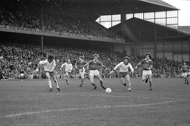 Kerry and Tyrone race to be first to the ball during the All Ireland Minor Gaelic Football Final, Tyrone v Kerry in Croke Park on the 28th September 1975.