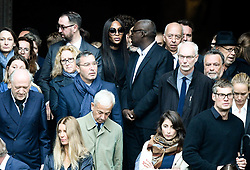 Naomi Campbell leaving the funeral service for late photographer Peter Lindbergh held at Saint Sulpice church in Paris, France on September 24, 2019. Photo by ABACAPRESS.COM