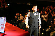 Stuart Bingham of England is announced to the crowd for the start of the match. Coral Welsh Open Snooker 2017, final match, Judd Trump of England v Stuart Bingham of England at the Motorpoint Arena in Cardiff, South Wales on Sunday 19th February 2017.<br /> pic by Andrew Orchard, Andrew Orchard sports photography.