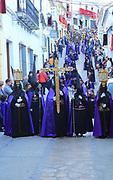 Easter Christian religious procession through streets of Setenil de las Bodegas, Cadiz province, Spain