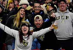 University of Central Florida fans react during the Chick-fil-A Peach Bowl NCAA college football game between Auburn University and the University of Central Florida January 1, 2018, in Atlanta. (David Tulis via Abell Images for Chick-fil-A Peach Bowl)