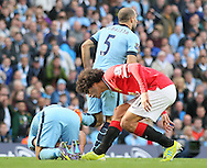 Marouane Fellaini of Manchester United confronts Sergio Aguero of Manchester City - Barclays Premier League - Manchester City vs Manchester Utd - Etihad Stadium - Manchester - England - 2nd November 2014  - Picture David Klein/Sportimage