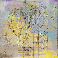 Antique grunge erotic (tantric) buddha illustration with abstract colors and textures.