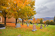Cemetary on Sainte-Famille-de-l'Île-d'Orléans  along the banks of the St. Lawrence River. Orléans Island near Quebec City . Quebec. Canada