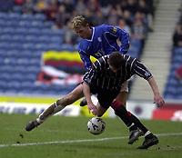 Rangers v Dunfermline, Scottish Premier.<br />pic Ian Stewart, February 3rd. 2001. Tore Andre Flo gets better of Justin Skinner