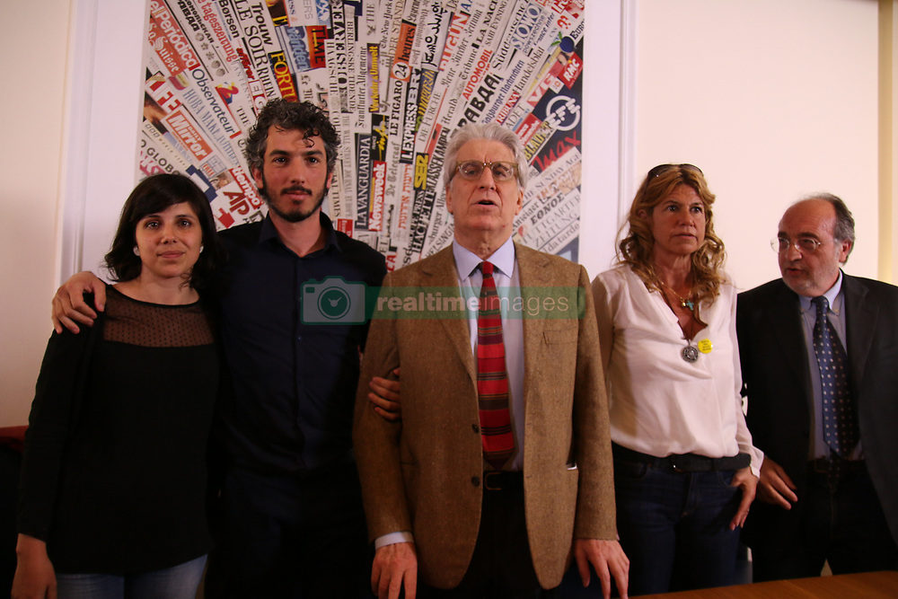 April 25, 2017 - Rome, Italy, Italy - Italian reporter and documentary filmmaker specializing in migrant issues Gabriele Del Grande  speaks next to his wife Alexandra D'Onofrio, during a press conference at the Foreign Press association headquarter in Rome on April 25, 2017, after being released by Turkish authorities. Del Grande, who was arrested by Turkish authorities on April 9, 2017 close to the border with Syria and afterwards transferred to a migrant center in the city of Mugla, has been freed after two weeks in detention. (Credit Image: © Cosimo Martemucci/Pacific Press via ZUMA Wire)