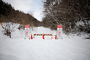 Fukushima  Miyakoshi  Border of the évacuation zone - March 2012.The road 399 is just over the limit of the Nuclear Evacuation zone. The nuclear plant is 20 km ahead.