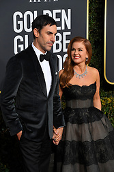 January 6, 2019 - Los Angeles, California, U.S. - Sasha Baron Cohen and Isla Fisher red carpet arrivals for the 76th Annual Golden Globe Awards at The Beverly Hilton Hotel. (Credit Image: © Kevin Sullivan via ZUMA Wire)